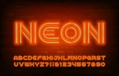 Neon alphabet font. Orange neon light letters and numbers in 70s style. Stock vector typescript for your design.