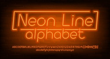 Neon Line alphabet font. Orange neon light letters, numbers and symbols. Brick wall background. Stock vector typescript for your design.