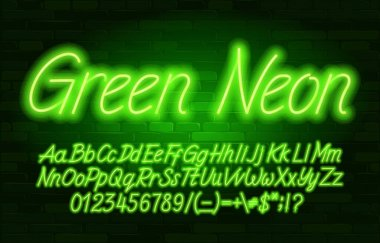 Green Neon alphabet font. Script neon color letters, numbers and symbols. Uppercase and lowercase. Stock vector typescript for your design.
