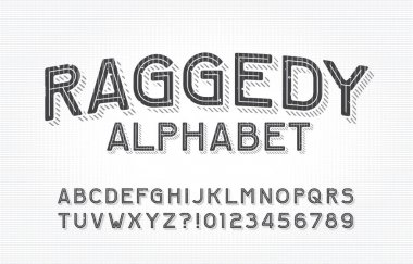 Raggedy alphabet font. Type letters and numbers on a vintage background. Stock vector typescript for your typography design.