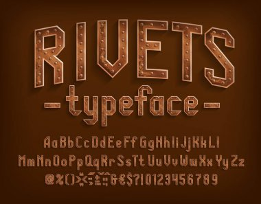 Rivets alphabet font. Steampunk letters, numbers and punctuation. Uppercase and lowercase. Stock vector typescript for your design.