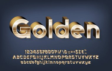 Golden alphabet font. 3d gold letters, numbers and punctuations with shadow. Uppercase and lowercase. Stock vector typescript for your typography design.