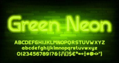Green Neon alphabet font. Neon light letters, numbers and punctuation. Uppercase and lowercase. Stock vector typescript for your design.