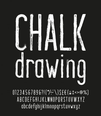 Chalk Drawing alphabet font. Hand drawn narrow uppercase and lowercase letters, numbers and punctuations. Stock vector typescript for your design.