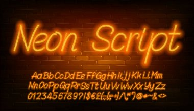 Neon script alphabet font. Orange neon color letters, numbers and punctuations. Uppercase and lowercase. Stock vector typeface for your design.
