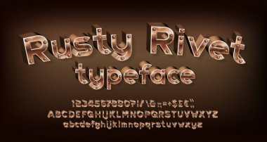 Rusty Rivet alphabet font. Steampunk 3D letters, numbers and punctuations. Uppercase and lowercase. Stock vector typescript for your design.