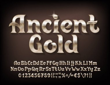 Ancient Gold alphabet font. Beveled golden letters, numbers and punctuations. Uppercase and lowercase. Stock vector typeface for your typography design.
