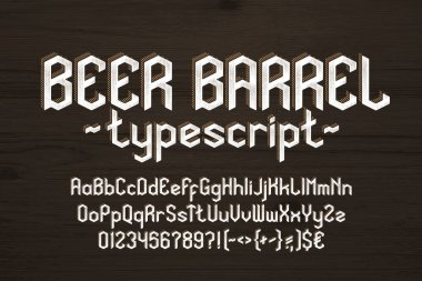 Beer Barrel alphabet font. Vintage letters, numbers and symbols. Uppercase and lowercase. Stock vector typescript for your typography design.
