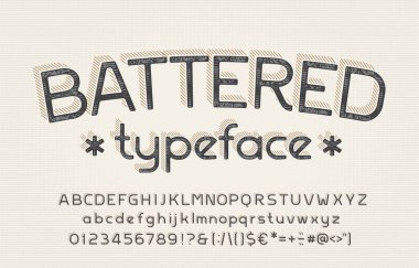 Battered alphabet font. Shabby vintage letters, numbers and symbols. Uppercase and lowercase. Stock vector typeface for your typography design.