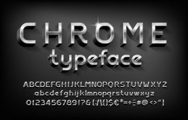 Chrome alphabet font. 3D metal letters, numbers and punctuation with shadow. Stock vector typeface for your typography design.