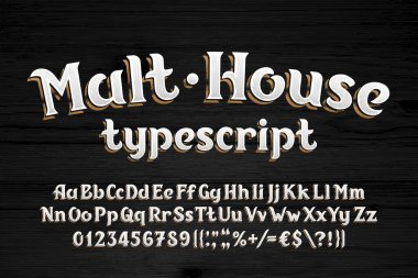 Malt House alphabet font. Vintage shabby letters, numbers and symbols. Wooden background. Uppercase and lowercase. Stock vector typescript for your typography design.