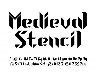 Medieval Stencil alphabet font. Letters, numbers and symbols. Uppercase and lowercase. Stock vector typescript for your design.