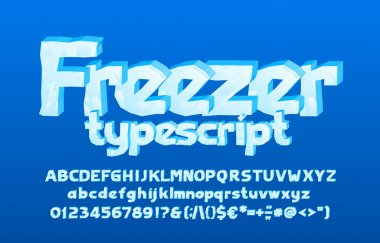 Freezer alphabet font. 3D cartoon ice letters, numbers and punctuation. Uppercase and lowercase. Stock vector typescript for your typography design.