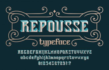 Repousse alphabet font. Vintage 3d letters, numbers and symbols for label, badge or emblem design. Uppercase and lowercase. Stock vector typescript for your typography design.