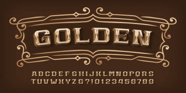 Golden alphabet font. 3D ornate letters, numbers and symbols. Stock vector typescript for your typography design.