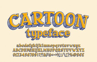 Cartoon alphabet font. Hand drawn uppercase and lowercase letters, numbers and symbols. Stock vector typeface for your design.