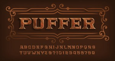 Puffer alphabet font. Steam punk rivet letters and numbers. Stock vector typescript for your design.