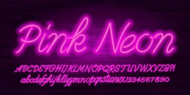 Pink Neon alphabet font. Hand written script letters, numbers and symbols. Uppercase and lowercase. Stock vector typescript for your design.