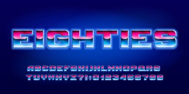 Eighties alphabet font. Glowing letters and numbers in 80s style. Stock vector typeface for your typography design.