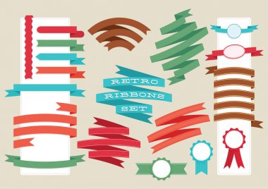 Retro ribbons and labels set. Vector illustration