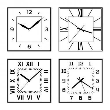 Set of different clock faces