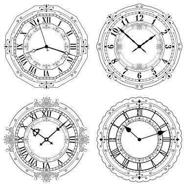 Set of different decorated clock faces