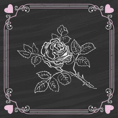 Sketch of Rose on a Chalkboard Background. Valentine card