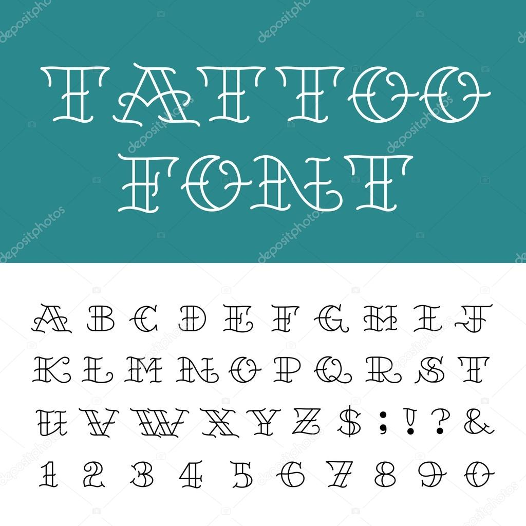 Type Letters Numbers And Punctuation Marks In Traditional Tattoo Style Vector By Epifantsev