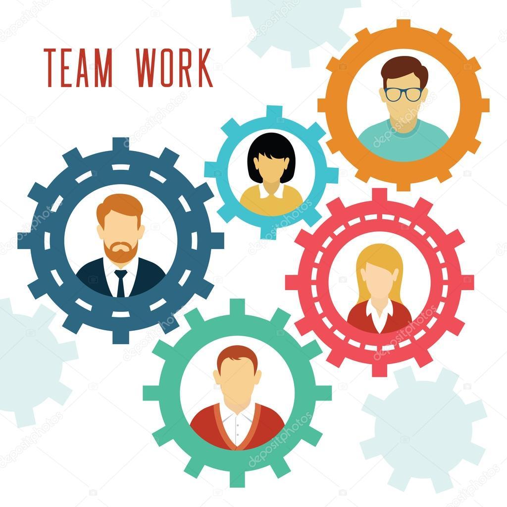 Koncepcja Narzędzi Pracy Zespołowej Wektor Grafika