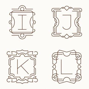 Vector mono line monograms. I, J, K, L.