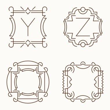 Vector mono line monograms. Y, Z.