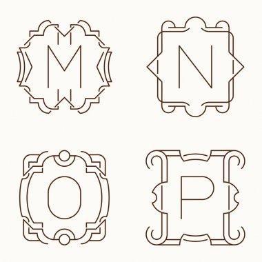 Vector mono line monograms. M, N, O, P.