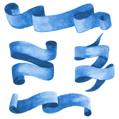Set of blue watercolor ribbons and banners. Vector illustration
