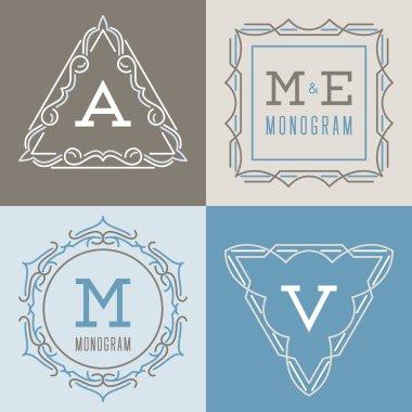 Set of logos templates in mono line style.