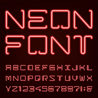 Neon Red Light Alphabet Vector Font.