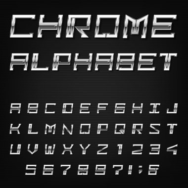 Chrome Alphabet Vector Font.