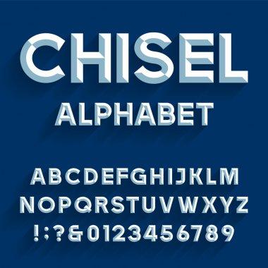 Chiseled Alphabet Vector Font.