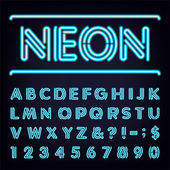 Fotografie Neon Blue Light Alphabet Vector Font.