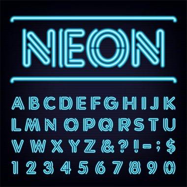 Neon Blue Light Alphabet Vector Font.