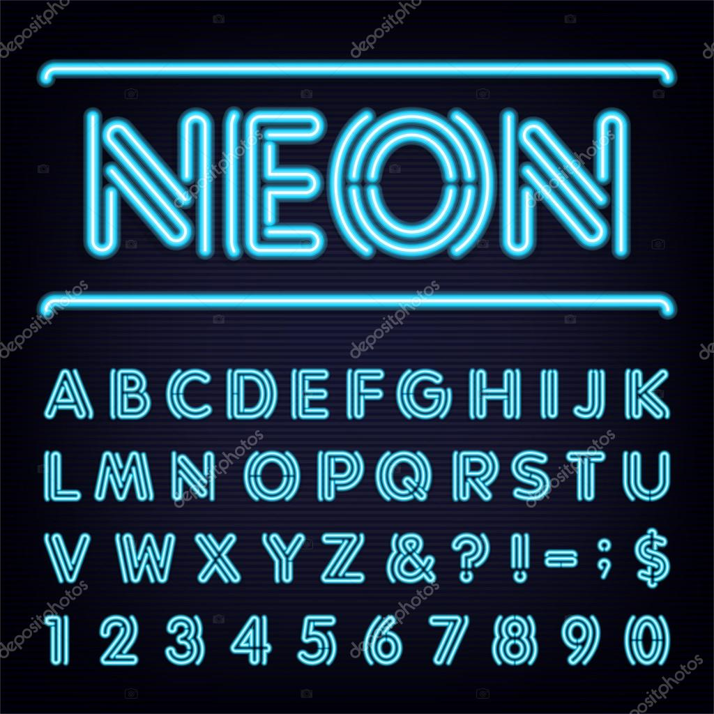 Neon Blue Light Alphabet Vector Font Stock
