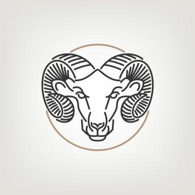 The Ram Head Outline Logo Icon Design.