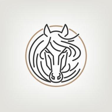 The Horse Head Outline Logo Icon Design.