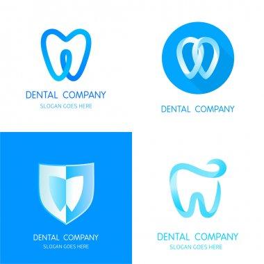 Dental logos templates. Abstract vector teeth signs.