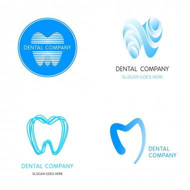 Dental logos templates. Abstract vector teeth.