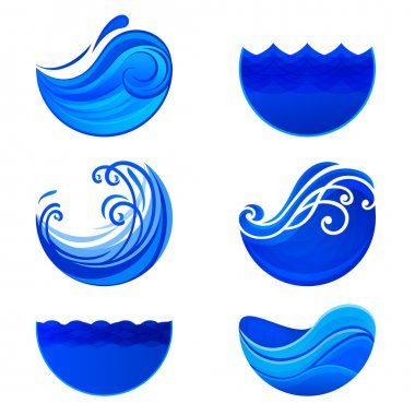 Splashing waves and water logos. Abstract vector signs.