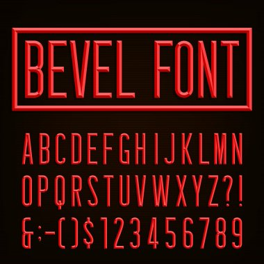Retro Beveled Narrow Font.  Vector Alphabet.