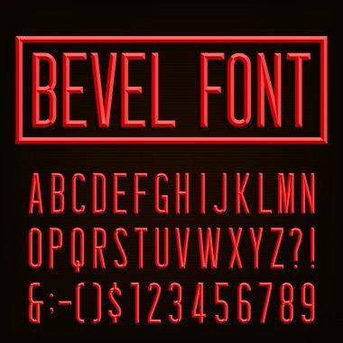 Retro Beveled Narrow Font.  Vector Alphabet.