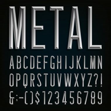 Metal Beveled Narrow Font. Vector Alphabet.