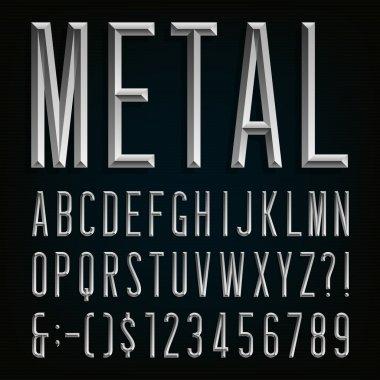 Metal Beveled Narrow Font. Vector Alphabet.