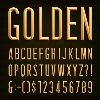 Golden Beveled Narrow Font. Vector Alphabet.